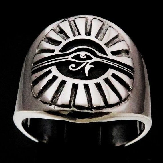 Spiritual Eye Of Horus Sterling Silver Eye Of Ra Ring Egyptian Jewelry 925