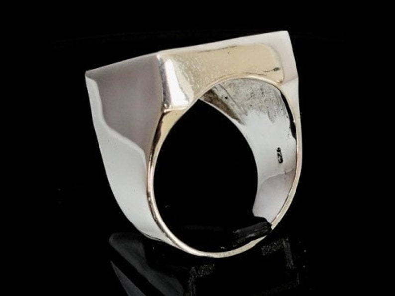 Sterling Silver mens signet ring Army Veteran with crossed Machine Guns symbol high polished and antiqued Sterling silver 925