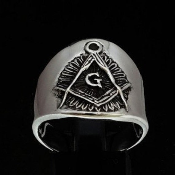 Freemason Green CZ Square and Compass Silver Masonic Mens Ring