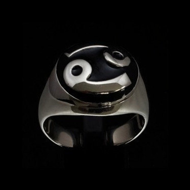 Dome shaped Silver Zodiac ring Cancer symbol 69 with black enamel high polished Sterling silver 925