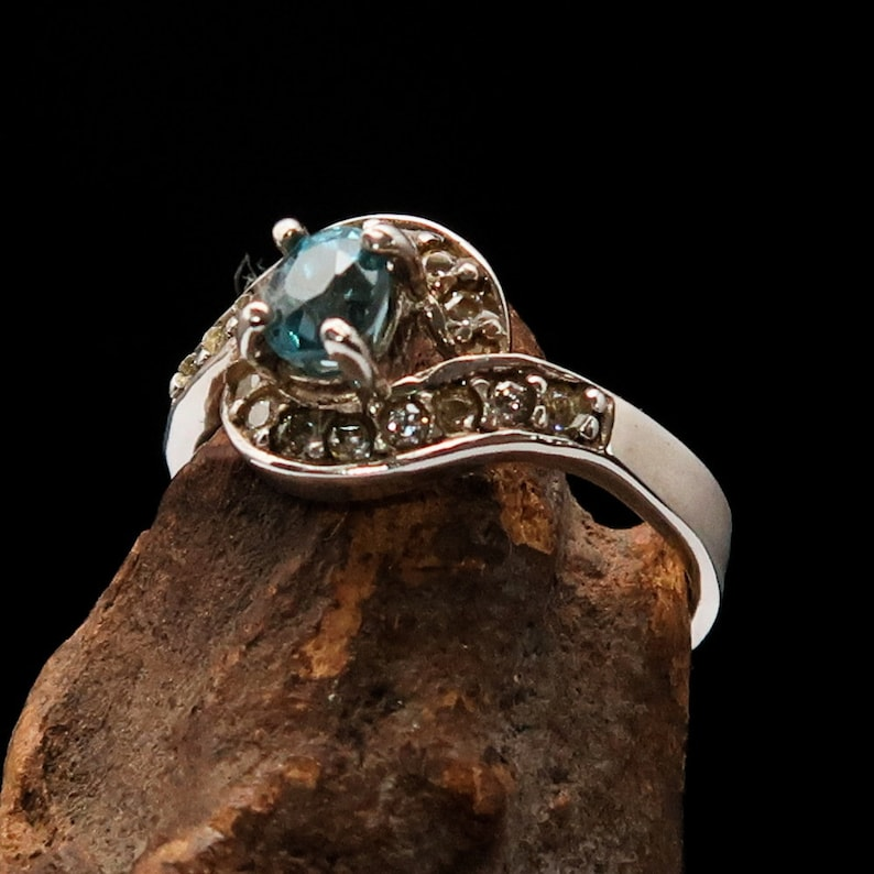 Beautiful Silver womens ring with round cut Blue Cambodian Zircon Gemstone and 14 white CZ high polished Sterling silver 925 ring for her