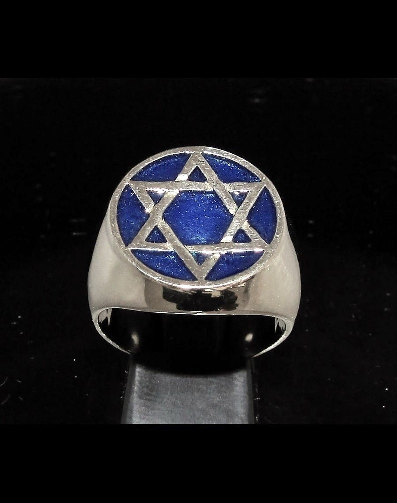 Silver Hexagram symbol ring six pointed star with blue enamel high polished Sterling silver 925 gift for him