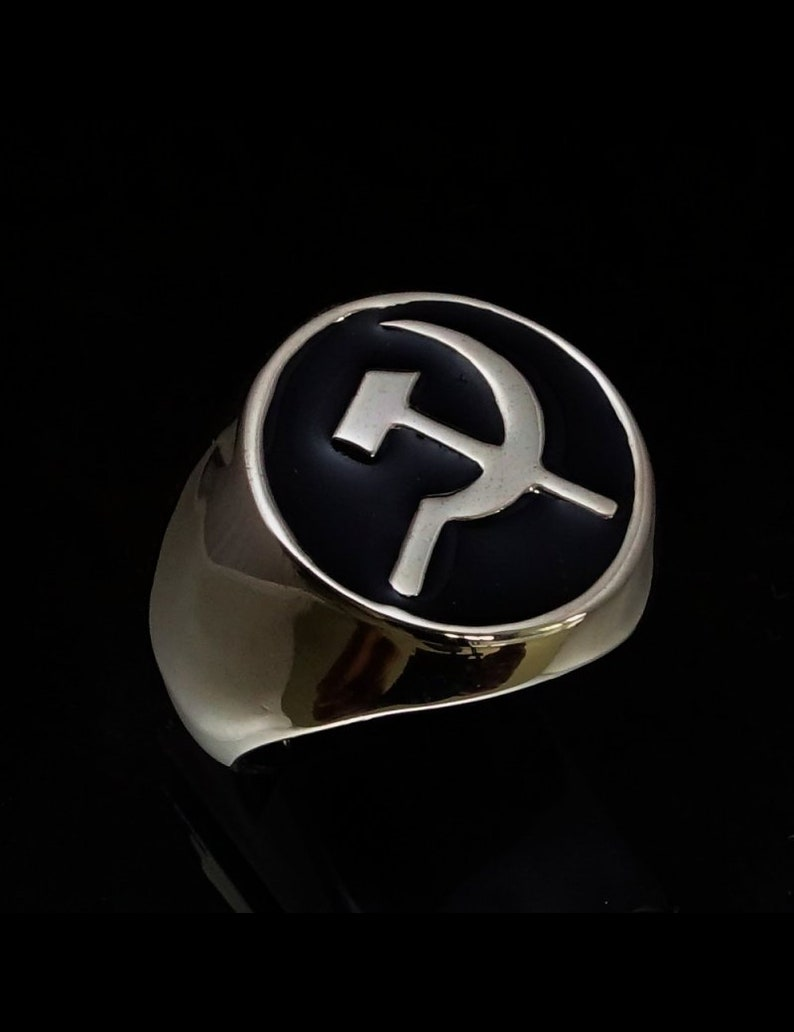 Sterling Silver mens signet ring Hammer and Sickle CCCP communist party USSR with black enamel high polished Sterling silver 925