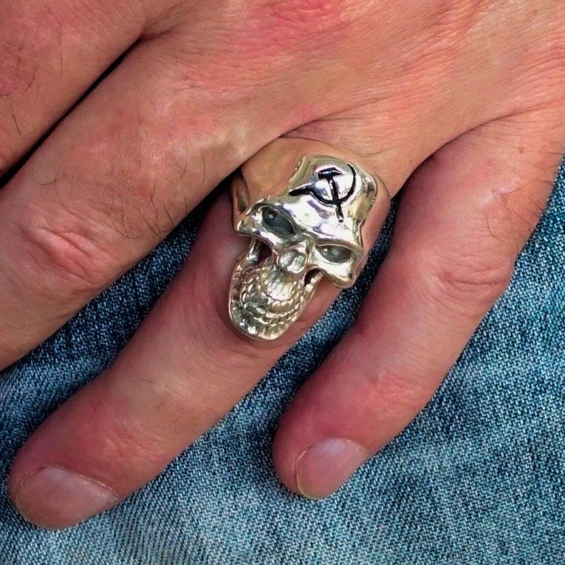 Sterling silver mens ring Hammer and Sickle Communist symbol Russia on Grinning Phantom Skull high polished and antiqued Sterling silver 925