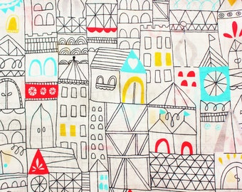 Cotton Voile Fabric / Organic Fabric / Cloud 9 / Lisa Congdon / Revelry Hamlet / White / Kids Clothing Shirt Dress / Half Metre