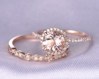 Morganite Engagement Ring Wedding Ring Set 14k Rose Gold Art Deco Diamond Matching Band 7mm Round Stone Personalized For Her Custom Ring