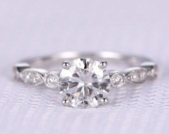 5mm Round Cut Forever Brilliant Moissanite Engagement Ring 14k White Gold Diamond Wedding Band Art Deco Personalized for her/him Custom Ring