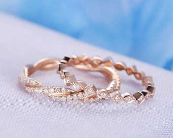 Full Eternity Diamond Wedding Band 14k Rose Gold Eternity Ring Wedding Ring Set Infinity Ring Personalized for her/him Custom ring