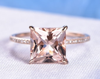 9mm Princess Cut Pink Morganite Engagement Ring Solid 14k Rose Gold Gemstone Diamond Wedding Band Bridal Ring Claw Prongs Custom Made Ring