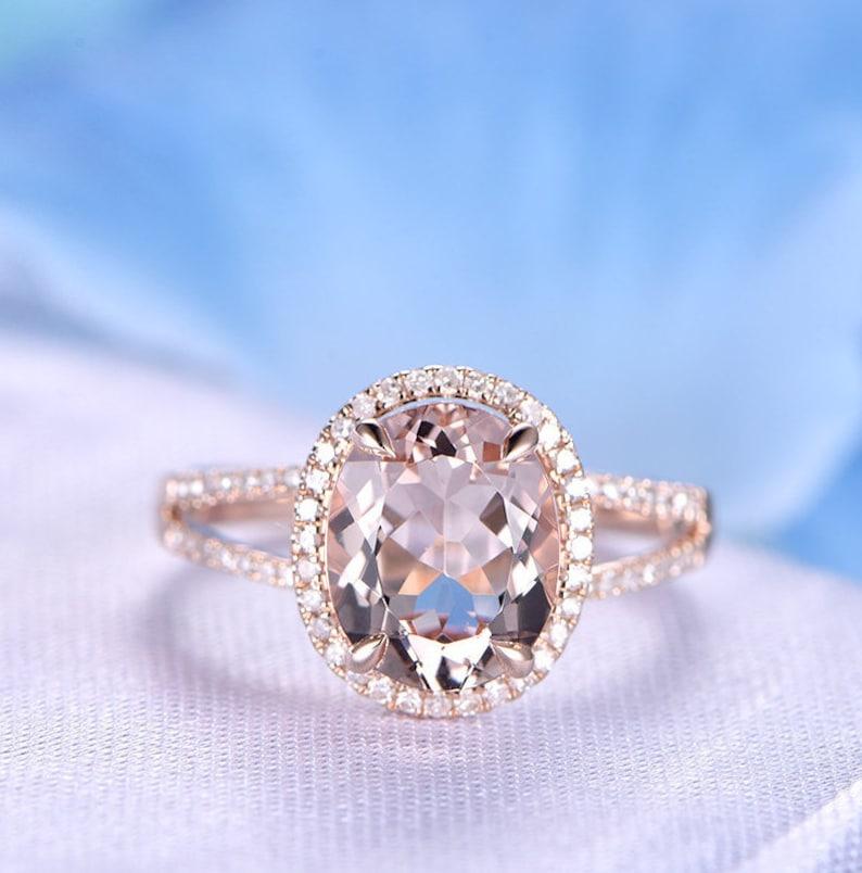 962c4e9e7b7248 2.5ct Big Oval Morganite Engagement Ring 14k Rose Gold | Etsy