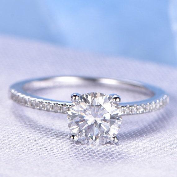 915d5479e44edb 1.25ct Forever Brilliant Moissanite Engagement Ring 7mm Round   Etsy