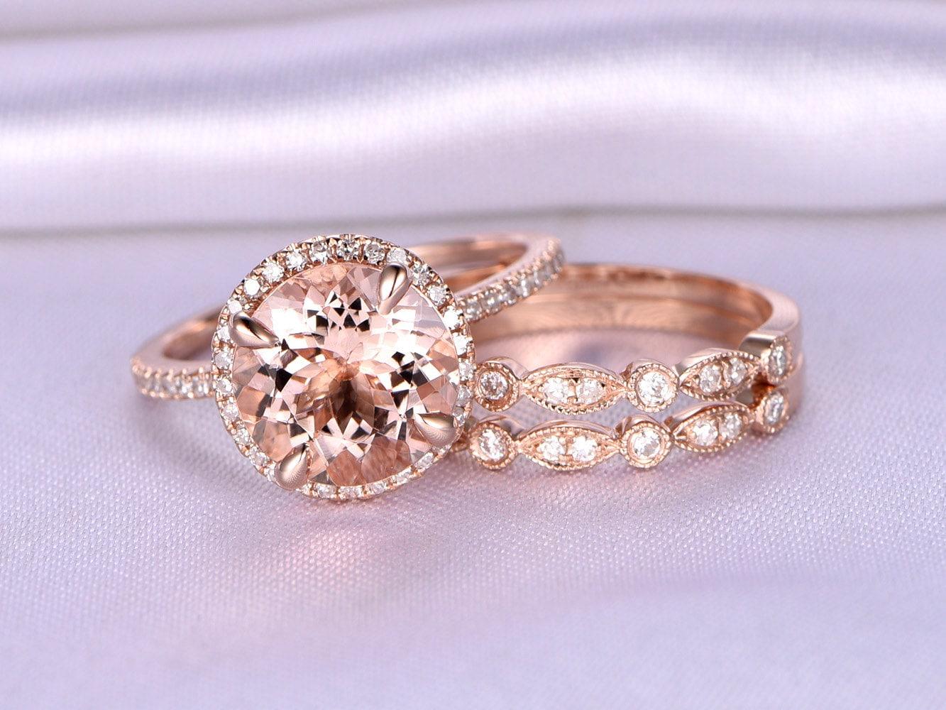 Morganite Wedding Ring Set Morganite Engagement Ring 9mm Big | Etsy