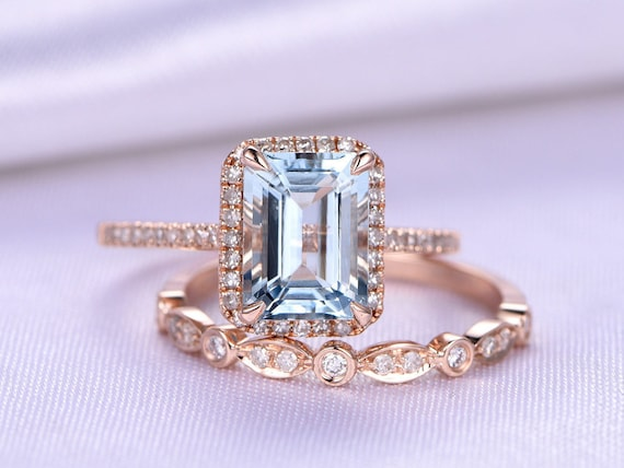 Aquamarine Ring Set Emerald Cut Aquamarine Engagement Ring Etsy