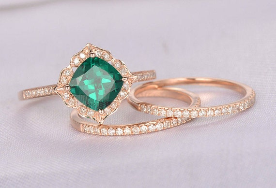 25d76d1f77c25a 3pcs Wedding Ring Set Emerald Engagement Ring 14k Rose Gold | Etsy