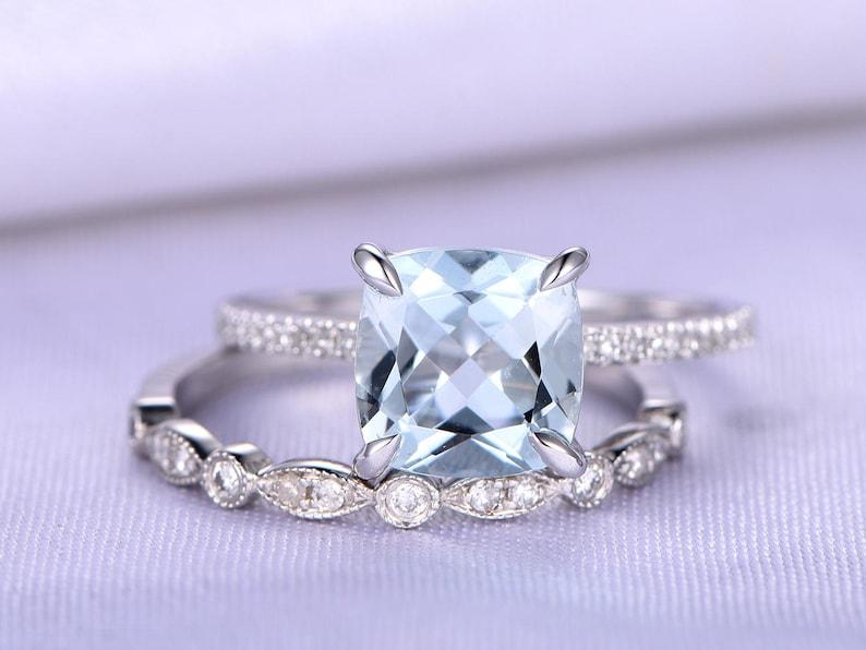 b21a7aeb4fdf8 Bridal Ring Set 8mm Cushion Cut Aquamarine Engagement Ring 14k White Gold  Art Deco Diamond Wedding Band Diamond Wedding Ring Promise Ring