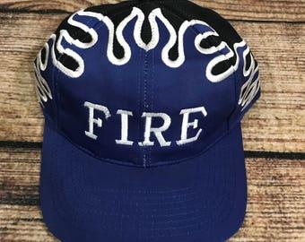 Vintage Fire Velcroback Hat flame cap