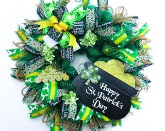St Patricks Day Wreath, St Patricks Day decorations, St Patricks Day Décor, Home Décor, Irish Wreath, Deco Mesh Wreath, Front Door Wreath