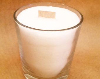 Bougie parfumée mèche en bois blanc bougie