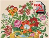 Floral cross stitch pattern flover Bouquet in glass vase berlin woolwork Digital Format PDF unique vintage victorian retro needlework chart