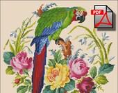 Vintage bird parrot berlin woolwork cross stitch pattern Green macaw Digital Format - PDF