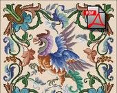 Fantasy bird cross stitch pattern berlin woolwork Griffin Digital Format PDF unique vintage victorian retro needlework chart pillow