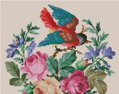 Bird cross stitch pattern Robin in roses Digital Format - PDF Vintage berlin woolwork victorian retro needlework chart