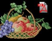 Floral fruit apples berlin woolwork cross stitch pattern Basket with fruits Digital Format PDF Vintage victorian retro needlework chart
