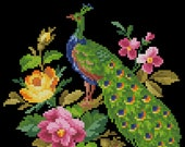 Bird floral cross stitch pattern Small Peacock Berlin woolwork Digital Format PDF unique vintage victorian needlework chart antique pillow