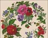 Floral cross stitch pattern flower berlin woolwork Floral rose branch twig Digital Format PDF Vintage unique victorian retro needlework char