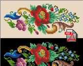 Poppy Miniature cross stitch pattern small floral berlin woolwork digital format PDF flower embroidery handbag petit vintage needlework char