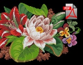 Floral cross stitch pattern Two lily for cushion berlin woolwork pillow Digital Format PDF Unique Vintage victorian retro needlework chart