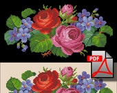Two roses and violets Miniature cross stitch pattern small floral berlin woolwork PDF file flower embroidery handbag petit needlework chart