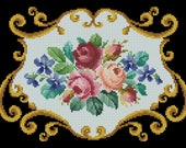 Vintage berlin woolwork cross stitch pattern Three Roses Digital Format PDF for Handbag pillow design victorian retro needlework chart