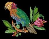 Bird floral parrot cross stitch pattern berlin woolwork oleander Digital format PDF unique vintage victorian pillow retro needlework chart