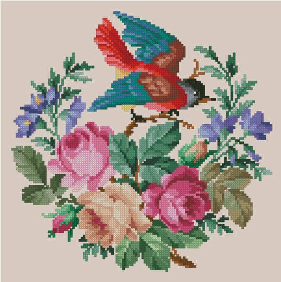 Handmade Vintage Robin Egg Nest DIGITAL Counted Cross-Stitch Pattern Needlepoint