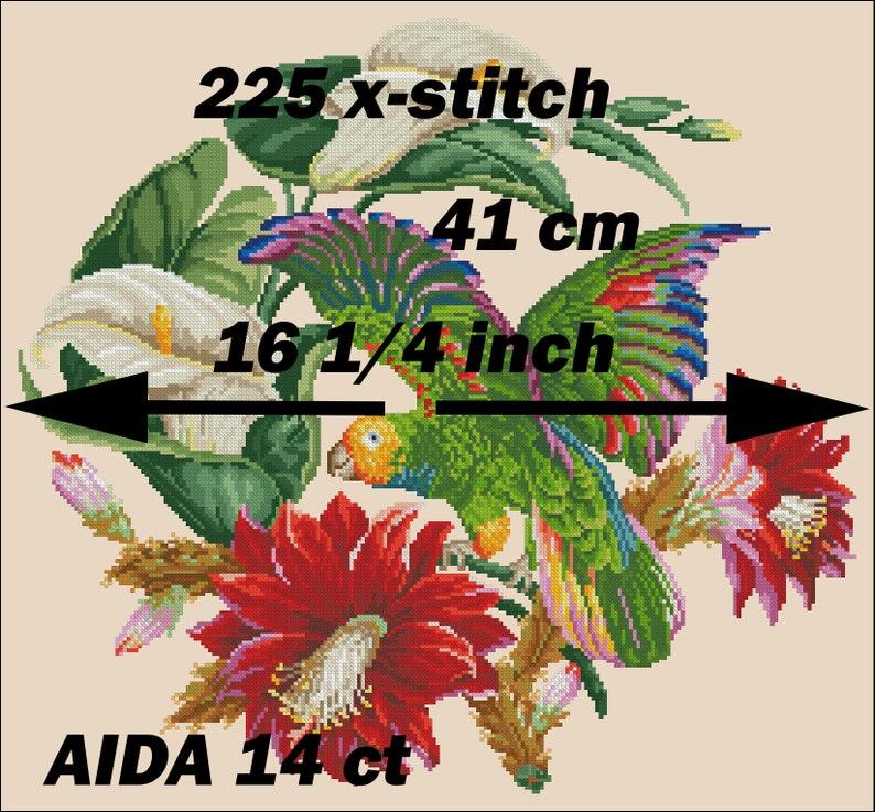 Bird cross stitch pattern Parrot on zygocactus berlin woolwork vintage unique Digital Format PDF victorian retro needlework chart wool work