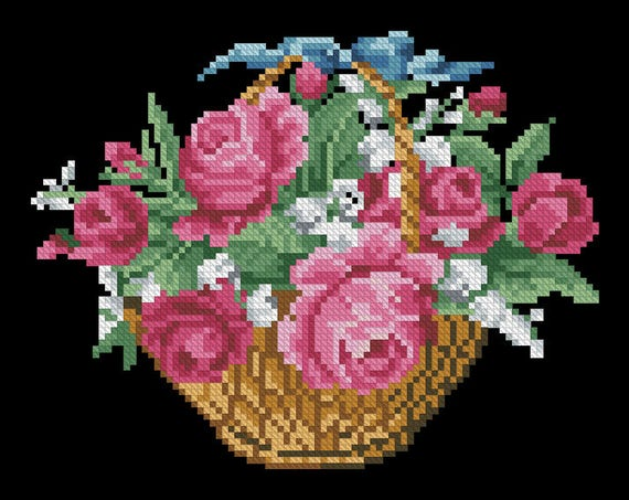 Counted Cross Stitch Patterns Basket Pink Roses Color Symbols Charts