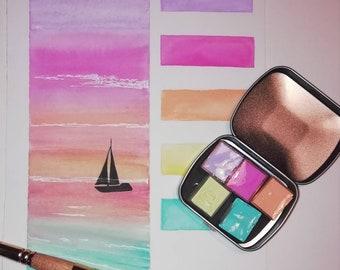 46883b4290d Tropicalpallet. travel watercolour pallet.Handmade watercolor pallet.  Watercolor paint