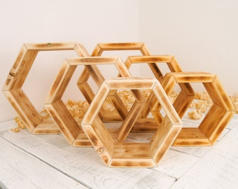 Hexagon Shelves Set Of 3, Made From Responsibly Sourced and Sustainable Pine Wood. Choose From Beeswax And Oil Finish or Plain Wood Finish.