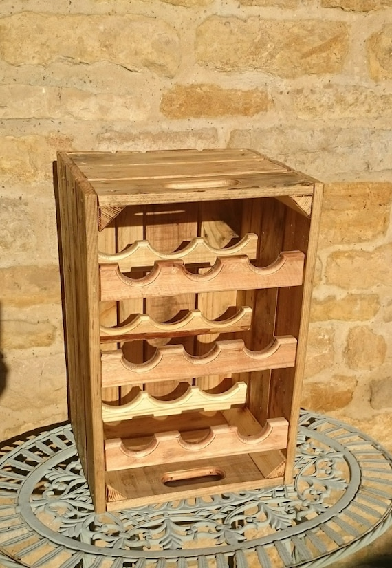 Rustic Wooden Wine Rack Wooden Wine Crate Holds Nine Etsy