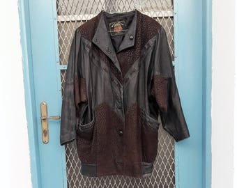 Vintage Womens Cowgirl Over-sized Leather Jacket