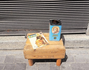 Re-purposed Vintage Wooden Crate/Side-table