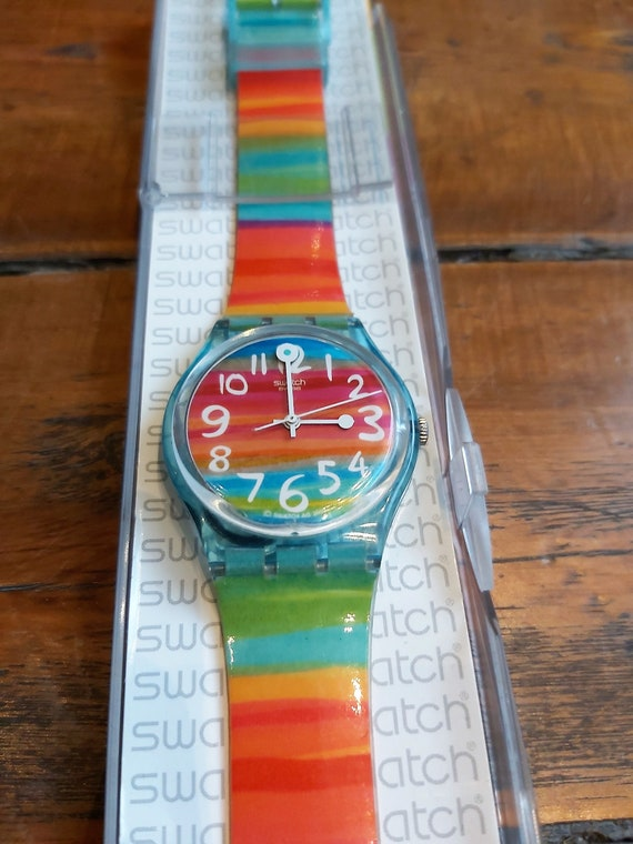 Vintage Rainbow Swatch Watch - image 3