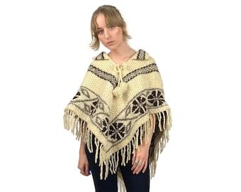 vintage 60/'s 70/'s patterned knit poncho hippie fringe poncho cream yellow red brown lightweight poncho 70/'s retro tassel pom pom