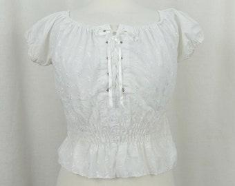 cc08a235a6bb9e Vintage 1970 s Prairie Gunne Sax Style Lace Up Cotton Blouse