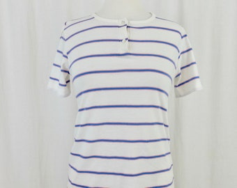 33f34744a79bac Vintage 1970's 1/4 Button Scoop Neck Short Sleeve Striped T-Shirt