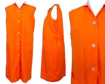 Vintage 60s Mod Psychedelic Midi Shift Dress | Hippie Kitsch Bright Orange Sleeveless Tank Button Down Floral Print Collared Apron | Size L