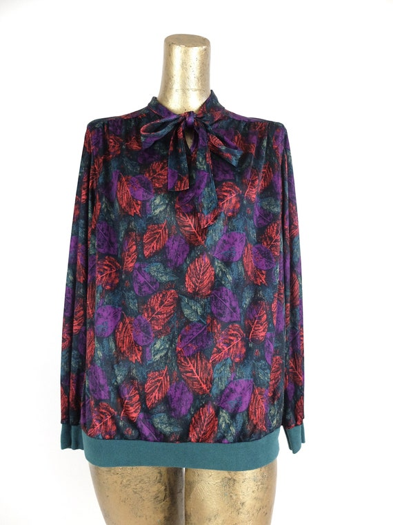 Vintage 70s Abstract Long Sleeve Silky Pussy Bow … - image 5