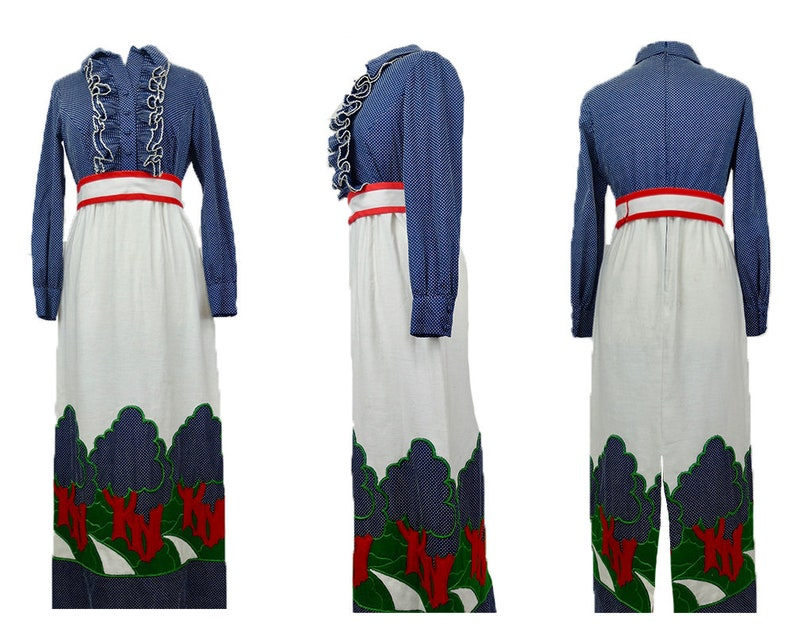Vintage 1970/'s RARE Brenner Couture Psychedelic Nature Patchwork Long Sleeve Slit Maxi Dress with Ruffled Collar and Wrap Belt