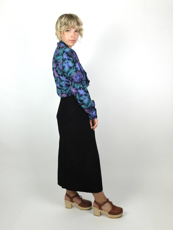 70s Romantic Mod Floral Long Sleeve Button Up Pus… - image 2